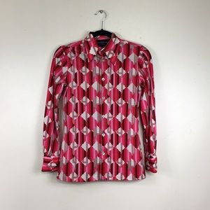 Vintage 70s Givenchy Hot Pink Clouds Button Down